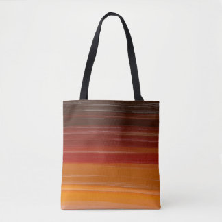 Abstraction Art Brown Wavy Lines Tote Bag