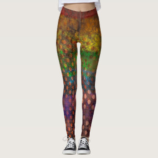 Abstraction Art Colored Grunge Brown Polka Dots Leggings