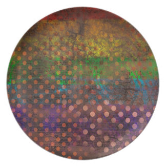 Abstraction Art Colored Grunge Brown Polka Dots Plate