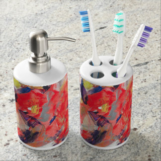 Abstraction Art Colorful Strokes Soap Dispenser And Toothbrush Holder