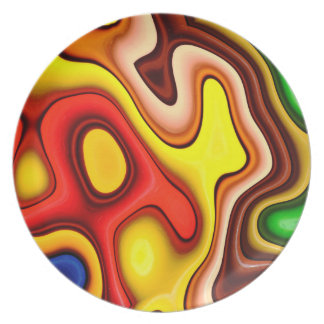 Abstraction Art Contour Pattern Dinner Plate