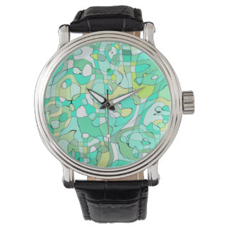 Abstraction Art Contours Green, Yellow And White Watches