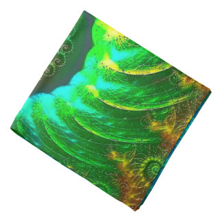 Abstraction Art Green And Brown Whirl Bandana