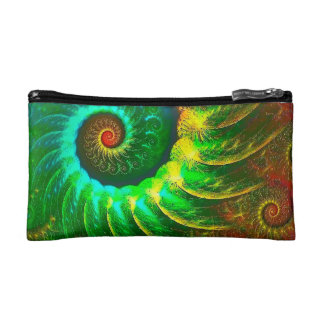 Abstraction Art Green And Brown Whirl Cosmetic Bag