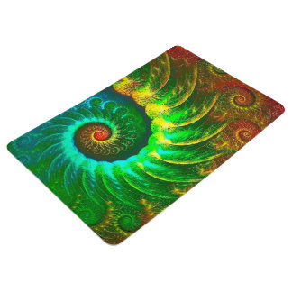 Abstraction Art Green And Brown Whirl Floor Mat