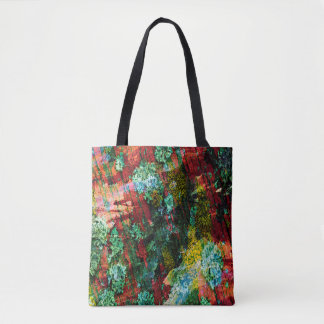 Abstraction Art Green And Red Texture Tote Bag