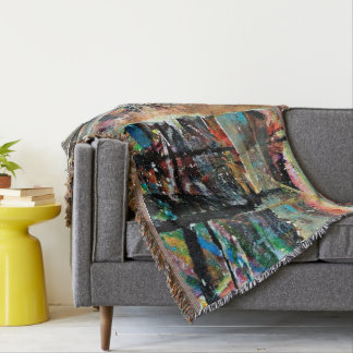 Abstraction Art Multi Colored Background Throw Blanket
