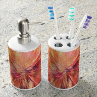 Abstraction Art Pink Color Soap Dispenser And Toothbrush Holder