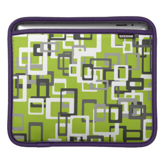 Abstraction Art Squares Pattern Green Background iPad Sleeve