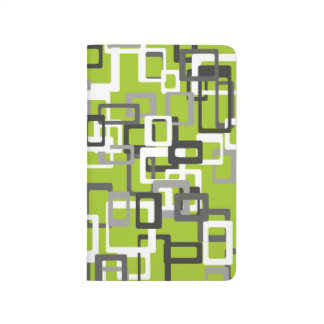 Abstraction Art Squares Pattern Green Background Journal