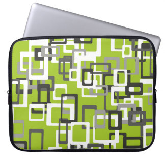 Abstraction Art Squares Pattern Green Background Laptop Sleeve