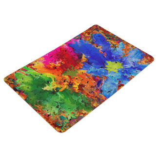 Abstraction Art  Wavy And Colorful Pattern Floor Mat