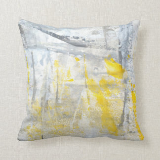 'Abstraction' Grey and Yellow Abstract Art Cushion