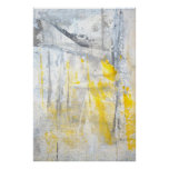 'Abstraction' Grey and Yellow Art Poster Print