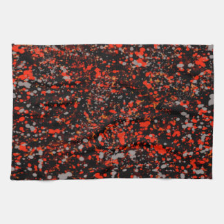 Abstraction Seamless Dot Dabs Red Black And Gray Tea Towel