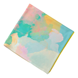 Abstraction Watercolour Pink Yellow And Blue Bandana