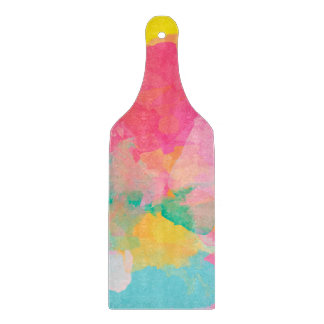 Abstraction Watercolour Pink Yellow And Blue Cutting Board