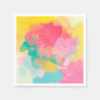 Abstraction Watercolour Pink Yellow And Blue Paper Serviettes