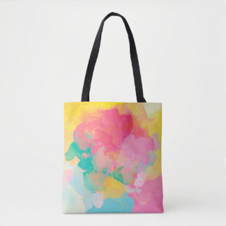Abstraction Watercolour Pink Yellow And Blue Tote Bag
