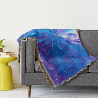 Abstractly Art Blue Water Drops Background Throw Blanket