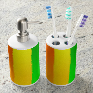 Abstractly Art Colorful Rainbow Background Soap Dispenser And Toothbrush Holder