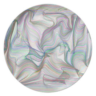 Abstractly Art Multi Color Contorted Waves Dinner Plate