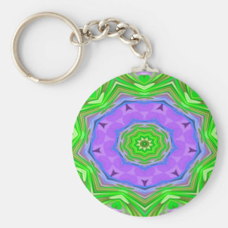 Abstractly Art Purple And Green Star Basic Round Button Key Ring