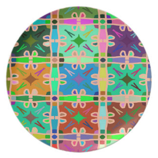Abstractly Multi Color Art Pattern Party Plate