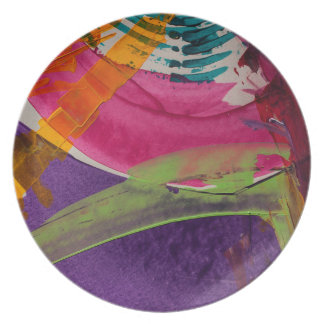 Abstractly Multi Color Art Plate
