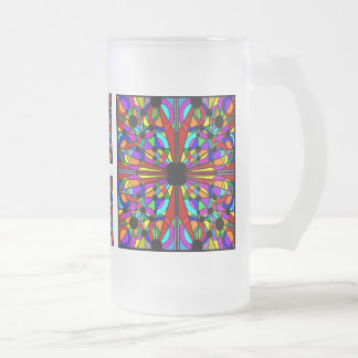 AbstractStained Glass Frosted Tall Mug4 Frosted Beer Mugs