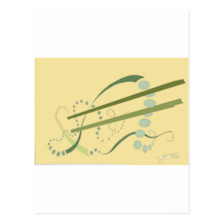 Abstractus Yellow Olive Green Abstract Modern Art Postcard
