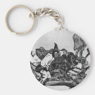 Absurdity of Carnival by Francisco Goya Basic Round Button Key Ring