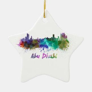 Abu Dhabi skyline in watercolor Christmas Ornament