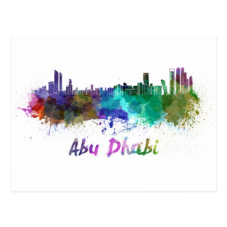 Abu Dhabi skyline in watercolor Postcard