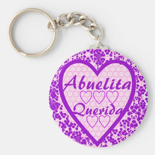 Abuelita Querida Basic Round Button Key Ring