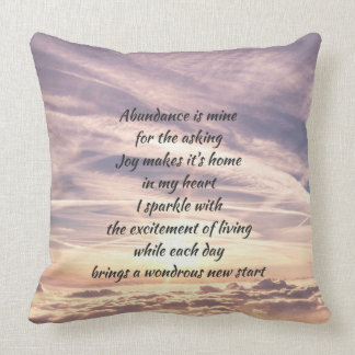 Abundance affirmation poem cushion