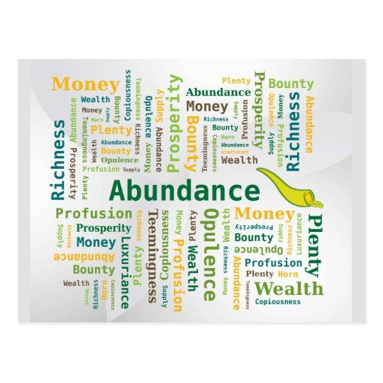 Abundance Word Cloud Green Yellow Colours Postcard
