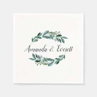 Abundant Foliage Personalized Wedding Disposable Serviettes