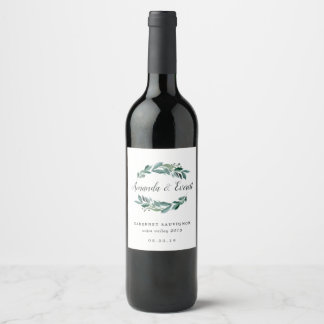 Abundant Foliage Personalized Wedding Wine Label