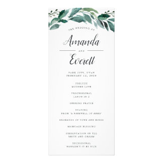 Abundant Foliage Wedding Ceremony Program Rack Card
