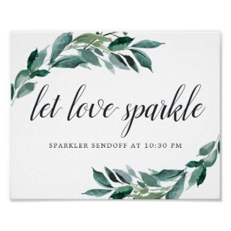 Abundant Foliage Wedding Sparker Sendoff Sign