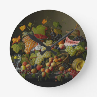 Abundant Fruit, 1858 (oil on canvas) Round Clock
