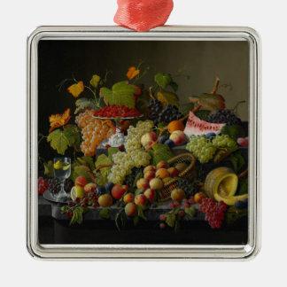 Abundant Fruit, 1858 (oil on canvas) Silver-Colored Square Decoration