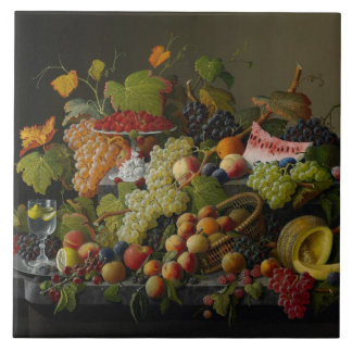 Abundant Fruit, 1858 (oil on canvas) Tile