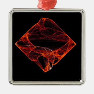 Abyssal Fire Square Metal Christmas Ornament