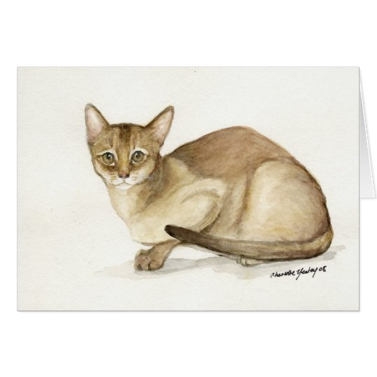 """""""Abyssinian Cat"""" Art Reproduction Greeting Card"""