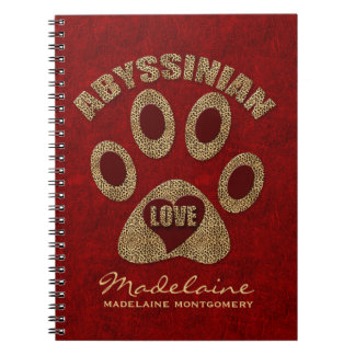 Abyssinian Cat Breed | Custom Red Cheetah Note Books