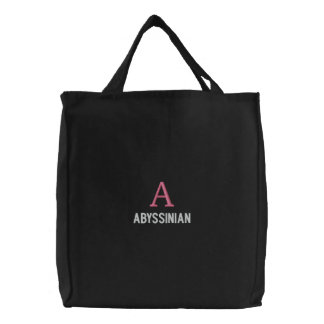 Abyssinian Cat Monogram Design Embroidered Bags