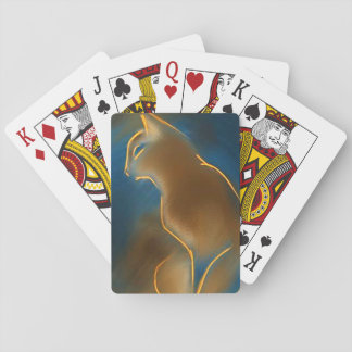 Abyssinian cat playing cards