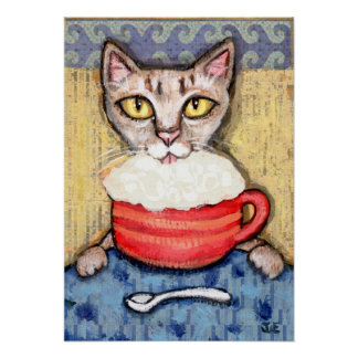 Abyssinian Drinking Coffee Poster